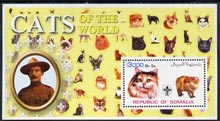 Somalia 2002 Domestic Cats of the World perf s/sheet #09 with Scout Logo & Baden Powell in background, unmounted mint