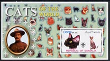 Somalia 2002 Domestic Cats of the World perf s/sheet #10 with Scout Logo & Baden Powell in background, unmounted mint