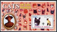 Somalia 2002 Domestic Cats of the World perf s/sheet #12 with Scout Logo & Baden Powell in background, unmounted mint