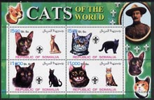 Somalia 2002 Domestic Cats of the World perf sheetlet #02 containing 4 values each with Scout Logo, unmounted mint
