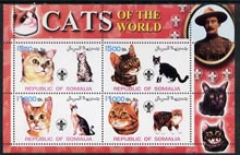 Somalia 2002 Domestic Cats of the World perf sheetlet #04 containing 4 values each with Scout Logo, unmounted mint