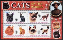 Somalia 2002 Domestic Cats of the World perf sheetlet #05 containing 4 values each with Scout Logo, unmounted mint