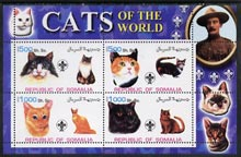 Somalia 2002 Domestic Cats of the World perf sheetlet #07 containing 4 values each with Scout Logo, unmounted mint