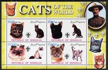 Somalia 2002 Domestic Cats of the World perf sheetlet #08 containing 4 values each with Scout Logo, unmounted mint