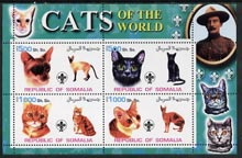 Somalia 2002 Domestic Cats of the World perf sheetlet #10 containing 4 values each with Scout Logo, unmounted mint