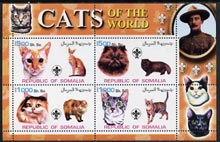 Somalia 2002 Domestic Cats of the World perf sheetlet #12 containing 4 values each with Scout Logo, unmounted mint