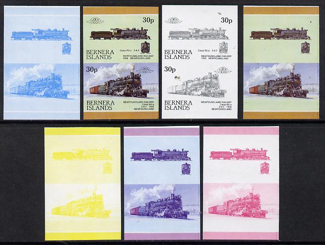 Bernera 1984 Locomotives #3 (30p Newfoundland Railway) set of 7 se-tenant progressive proof pairs comprising the 4 individual colours and 2, 3 and all 4 colour composites...