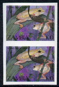 Zambia 1989 Young Reed Frogs 10k imperf pair unmounted mint, SG 570var