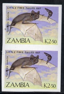 Zambia 1989 Free-Tailed Bat 2.50K value unmounted mint imperf pair (as SG 572