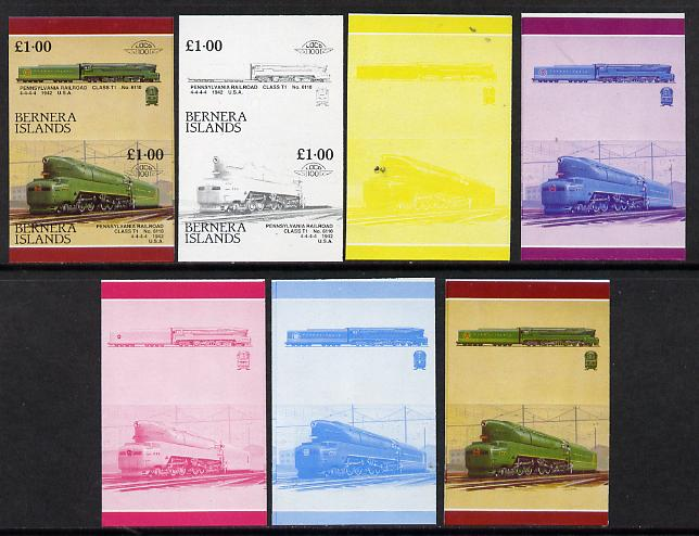 Bernera 1984 Locomotives #3 (�1 Pennsylvanian Railway Class T1) set of 7 se-tenant progressive proof pairs comprising the 4 individual colours and 2, 3 and all 4 colour composites (7 proof pairs) unmounted mint*