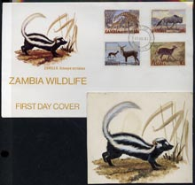 Zambia 1983 original artwork by Mrs G Ellison for illustration as used for Wildlife first day cover (Zorilla) 4.5 x 3.75 inches