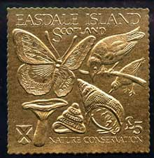 Easdale 1991 Nature Conservation \A35 embossed in gold foil (Butterfly, Birds, Mushroom & Shells) unmounted mint