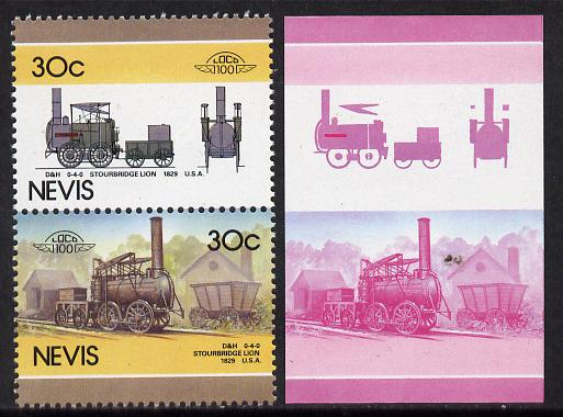 Nevis 1986 Locomotives #5 (Leaders of the World) Stourbridge Lion Loco (SG 352-3) 30c unmounted mint se-tenant imperf progressive proof pair in magenta & blue plus normal issued pair