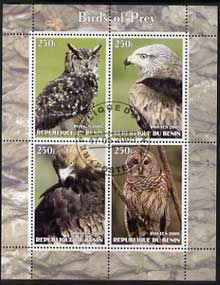 Benin 2005 Birds of Prey perf sheetlet containing 4 values cto used