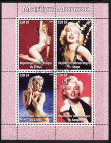 Congo 2005 Marilyn Monroe perf sheetlet #01 containing 4 values fine cto used