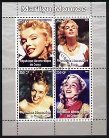 Congo 2005 Marilyn Monroe perf sheetlet #02 containing 4 values fine cto used