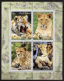 Somalia 2005 Wild Cats perf sheetlet containing 4 values fine cto used