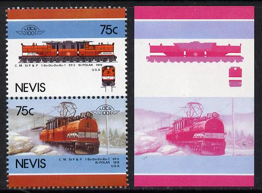 Nevis 1986 Locomotives #5 (Leaders of the World) Bi-Polar Loco (SG 354-5) 75c unmounted mint se-tenant imperf progressive proof pair in magenta & blue plus normal issued pair