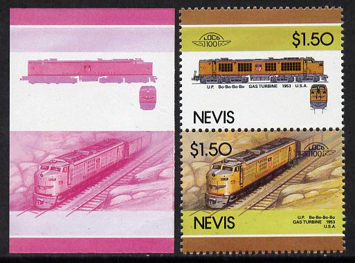 Nevis 1986 Locomotives #5 (Leaders of the World) Union Pacific Gas Turbine Loco (SG 356-7) $1.50 unmounted mint se-tenant imperf progressive proof pair in magenta & blue plus normal issued pair