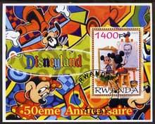 Rwanda 2005 50th Anniversary of Disneyland perf m/sheet #02 fine cto used