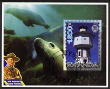 Rwanda 2005 Lighthouses perf m/sheet #01 with Scout Logo, background shows Seals & Baden Powell, fine cto used, stamps on lighthouses, stamps on scouts, stamps on seals