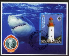 Rwanda 2005 Lighthouses perf m/sheet #03 with Scout Logo, background shows Shark & Jules Verne, fine cto used