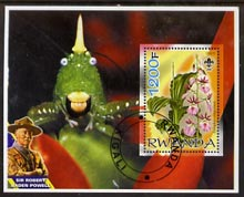 Rwanda 2005 Orchids perf m/sheet with Scout Logo, background shows insect & Baden Powell, fine cto used