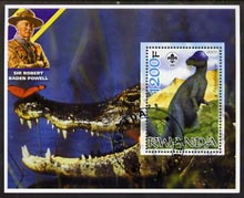 Rwanda 2005 Dinosaurs perf m/sheet #01 with Scout Logo, background shows Crocodile & Baden Powell, fine cto used