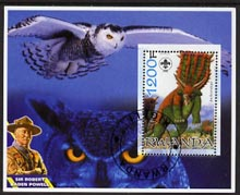 Rwanda 2005 Dinosaurs perf m/sheet #02 with Scout Logo, background shows Owl & Baden Powell, fine cto used
