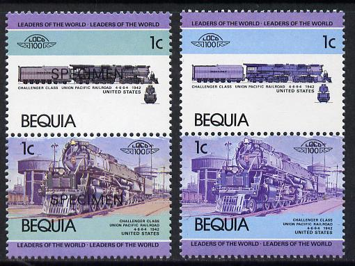 St Vincent - Bequia 1984 Locomotives #1 (Leaders of the World) 1c (Challenger Class) unmounted mint se-tenant pair with yellow omitted with matched 'normal' overprinted SPECIMEN