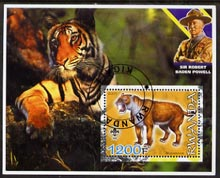 Rwanda 2005 Dinosaurs (Sabre Tooth Tiger) perf m/sheet #04 with Scout Logo, background shows Tiger & Baden Powell, fine cto used