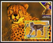 Rwanda 2005 Dinosaurs (False Sabre Tooth Tiger) perf m/sheet #05 with Scout Logo, background shows Cheetah & Baden Powell, fine cto used