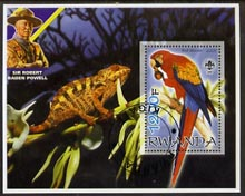 Rwanda 2005 Parrots perf m/sheet with Scout Logo, background shows Chameleon & Baden Powell, fine cto used