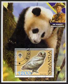 Rwanda 2005 Polar Owl perf m/sheet with Scout Logo, background shows Panda & Baden Powell, fine cto used
