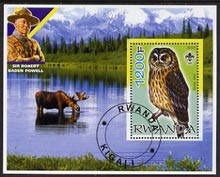 Rwanda 2005 Tawney Owl perf m/sheet with Scout Logo, background shows Moose & Baden Powell, fine cto used
