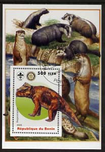 Benin 2005 Dinosaurs #02 - Bagaceraptor perf m/sheet with Scout & Rotary Logos, background shows Badgers, Otters & Beavers fine cto used