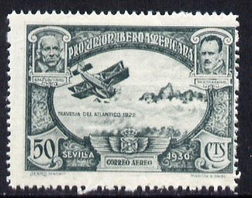 Spain 1930 Fairey IIID Seaplane 50c grey-blue (from Spanish-American Exhibition) minor gum disturbance otherwise unmounted mint SG 646 (Blocks & gutter pairs available - price pro rata)