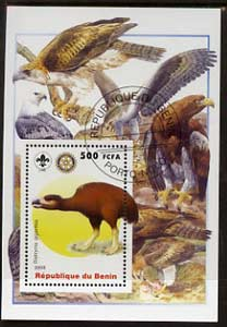Benin 2005 Dinosaurs #03 - Diatryma gigantea perf m/sheet with Scout & Rotary Logos, background shows various Birds of Prey fine cto used