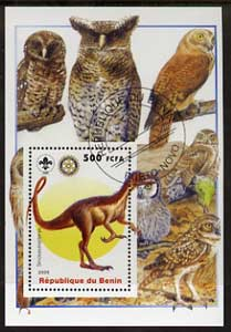 Benin 2005 Dinosaurs #04 - Sinosauropteryx perf m/sheet with Scout & Rotary Logos, background shows various Owls fine cto used