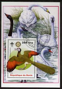 Benin 2005 Dinosaurs #06 - Archaeopterys perf m/sheet with Scout & Rotary Logos, background shows various Geese & Swans fine cto used