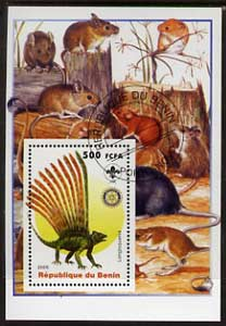 Benin 2005 Dinosaurs #07 - Longisquama perf m/sheet with Scout & Rotary Logos, background shows various Rodents fine cto used