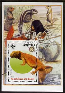 Benin 2005 Dinosaurs #08 - Robertia perf m/sheet with Scout & Rotary Logos, background shows Squirrels, etc fine cto used