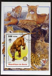 Benin 2005 Dinosaurs #09 - Thylacoleo perf m/sheet with Scout & Rotary Logos, background shows various Big Cats fine cto used