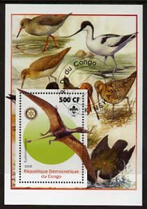 Congo 2005 Dinosaurs #04 - Eudimorphodon perf m/sheet with Scout & Rotary Logos, background shows various Birds fine cto used