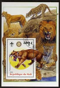 Mali 2005 Dinosaurs #02 - Thylacosmilus (Sabre Toothed Tiger) perf m/sheet with Scout & Rotary Logos, background shows various Big Cats fine cto used