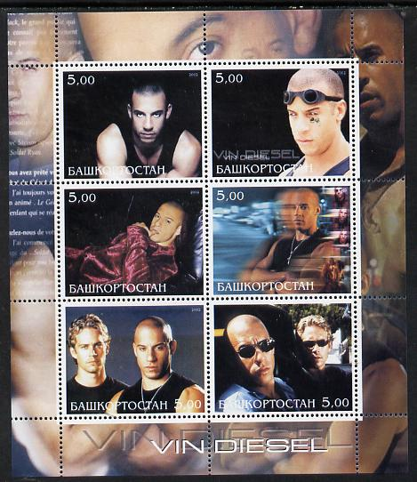 Bashkortostan 2002 Vin Diesel perf sheetlet containing 6 values unmounted mint