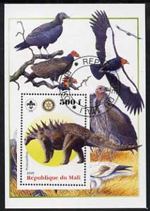 Mali 2005 Dinosaurs #04 - Polacanthus perf m/sheet with Scout & Rotary Logos, background shows various Birds fine cto used