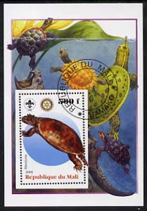 Mali 2005 Dinosaurs #05 - Meiolonia perf m/sheet with Scout & Rotary Logos, background shows various Turtles fine cto used