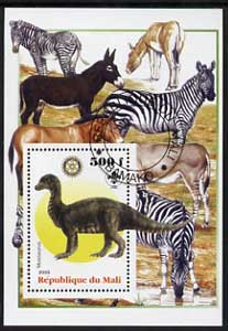Mali 2005 Dinosaurs #06 - Mussaurus perf m/sheet with Scout & Rotary Logos, background shows Zebras etc, fine cto used