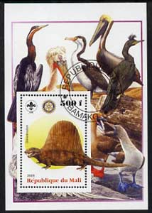 Mali 2005 Dinosaurs #07 - Dimetrodon perf m/sheet with Scout & Rotary Logos, background shows various Birds fine cto used